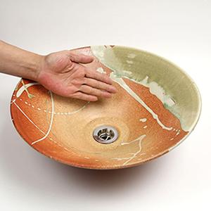 火色ビードロ手洗い鉢【中型サイズ】信楽焼き手洗器!陶器の手水鉢[tr-3068]