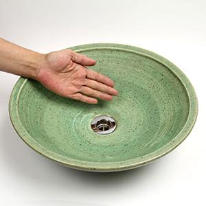 緑釉うずしお手洗い鉢【中型サイズ】信楽焼き手洗器!陶器の手水鉢[tr-3170]