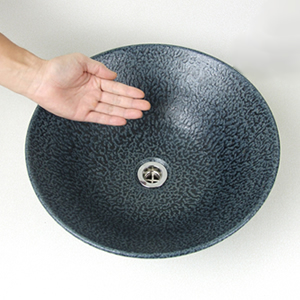 青銅手洗い鉢【中型サイズ】信楽焼き手洗器!陶器の手水鉢[tr-3031]