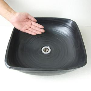 黒マット角型手洗い鉢【中型サイズ】信楽焼き手洗器!陶器の手水鉢[tr-3094]