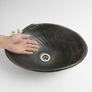 仲良しふくろう付き手洗い鉢【中型サイズ】信楽焼き手洗器!陶器の手水鉢[tr-3167]