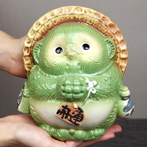 信楽焼きたぬき 5号お願い狸(緑) 陶器タヌキ[ta-0208]