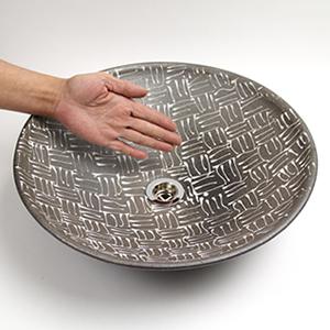 白格子模様手洗い鉢【中型サイズ】信楽焼き手洗器!陶器の手水鉢[tr-3180]