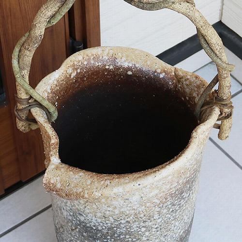信楽焼かさたて ツル付き傘立て 陶器[kt-0203]