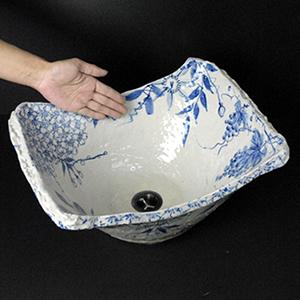 絵付き角型手洗い鉢【大型サイズ】信楽焼き手洗器!陶器の洗面ボウル[tr-4047]