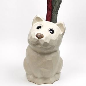 信楽焼きかさたて 白犬傘立て 陶器[kt-0254]