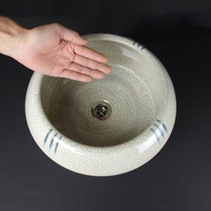 ゴス絵流れ釜型手洗い鉢【埋め込みタイプ】信楽焼き手洗器!陶器の手水鉢[tm-0011]