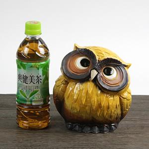 信楽焼きふくろう 5号首かしげふくろう(黄色) 陶器フクロウ置物[fu-0106]