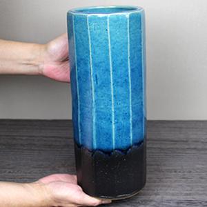 青ガラス面取り花瓶 信楽焼き 花入れ[ha-0205]