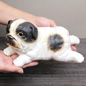ブルドック仔犬おきもの(白) 信楽焼イヌ置き物[ok-0034]
