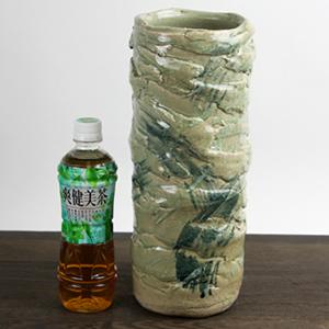 ゴス刷毛緑釉花入れ 信楽焼き 花瓶[ha-0119]