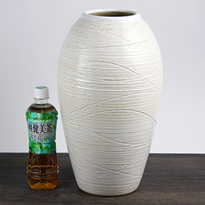 白窯変コンガ花瓶 信楽焼き 壺[ha-0158]
