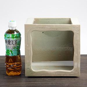 陶器水槽 信楽焼の角型水槽(白)[su-0126]