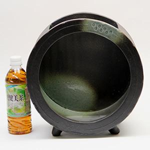陶器水槽(大) 信楽焼の丸型水槽(黒)[su-0182]