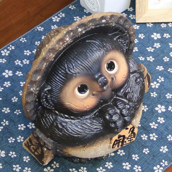 信楽焼きたぬき 7号古信楽風お願い狸 陶器タヌキ[ta-0213]