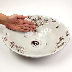 さくら絵小判型手洗い鉢【小型サイズ】信楽焼き手洗器!陶器の手水鉢[tr-2221]