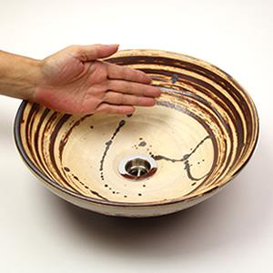 ハケメしずく(小型)手洗い鉢【小型サイズ】信楽焼き手洗器!陶器の手水鉢[tr-2224]