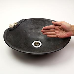 仲良しふくろう楕円(小型)手洗い鉢【小型サイズ】信楽焼き手洗器!陶器の手水鉢[tr-2225]