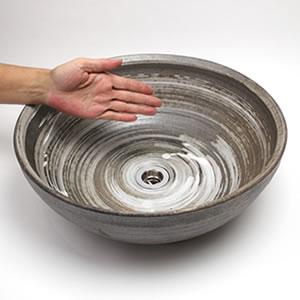 イブシうずしお手洗い鉢【中型サイズ】信楽焼き手洗器!陶器の手水鉢[tr-3222]