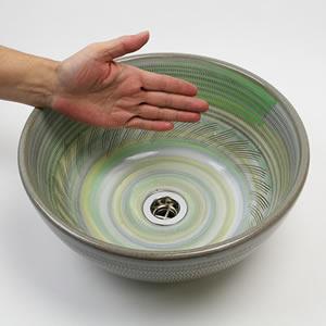 トチリ虹色手洗い鉢【小型サイズ】信楽焼き手洗器!陶器の手水鉢[tr-2231]
