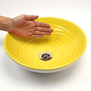 イエローホワイト(小型)手洗い鉢【小型サイズ】信楽焼き手洗器!陶器の手水鉢[tr-2234]