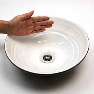 ホワイトブラック(小型)手洗い鉢【小型サイズ】信楽焼き手洗器!陶器の手水鉢[tr-2236]