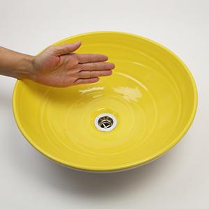 イエローホワイト手洗い鉢【中型サイズ】信楽焼き手洗器!陶器の手水鉢[tr-3227]