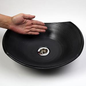 黒マット長角ソリ型(小型)手洗い鉢【小型サイズ】信楽焼き手洗器!陶器の手水鉢[tr-2237]