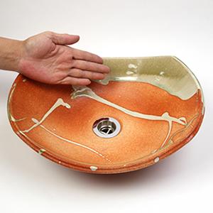 あかつき長角ソリ型(小型)手洗い鉢【小型サイズ】信楽焼き手洗器!陶器の手水鉢[tr-2238]