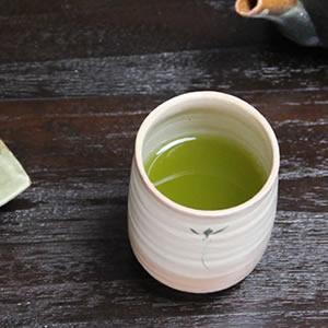 信楽焼き湯のみ!花紋(緑)湯呑[w913-03]