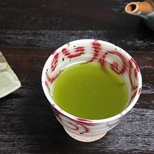 信楽焼き湯のみ!水面唐草(赤)湯呑[w913-12]