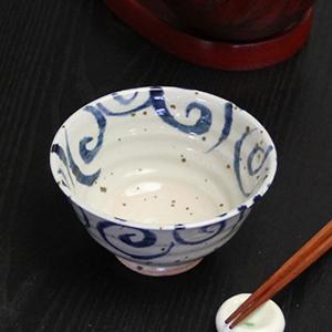 信楽焼き飯碗!水面唐草(青)めし碗!土のぬくもりあるご飯茶わんです。[w909-07]
