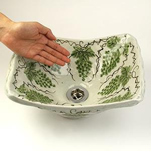 マスカット絵角型手洗い鉢【小型サイズ】信楽焼き手洗器!陶器の手水鉢[tr-2240]