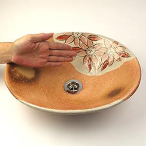 紅テッセン絵火色小判型手洗い鉢【小型サイズ】信楽焼き手洗器!陶器の手水鉢[tr-2241]