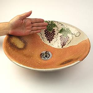 葡萄絵火色小判型手洗い鉢【小型サイズ】信楽焼き手洗器!陶器の手水鉢[tr-2243]