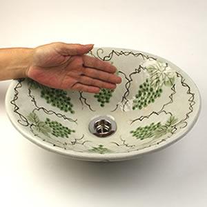 マスカット絵小判型手洗い鉢【小型サイズ】信楽焼き手洗器!陶器の手水鉢[tr-2244]