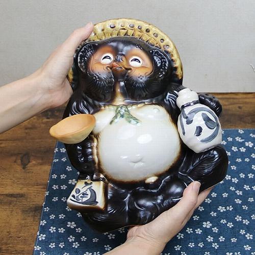 笑い目月見タヌキ 信楽焼きたぬき 笑い狸 陶器[ta-0276]