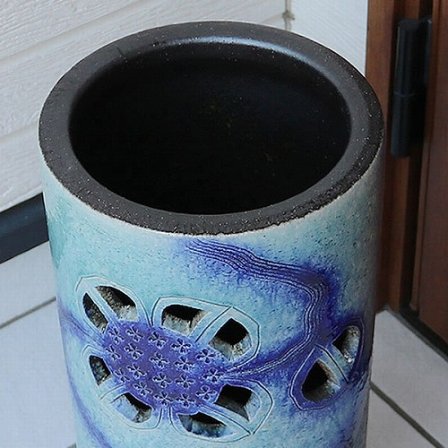 信楽焼かさたて ブルーあじさい 傘立て 陶器 [kt-0316]
