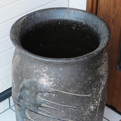 信楽焼かさたて つぼ型ビードロ流し傘立て 陶器 [kt-0317]