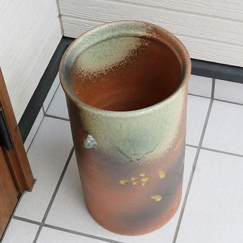 信楽焼かさたて 金花耳付き傘立て 陶器かさたて [kt-0322]