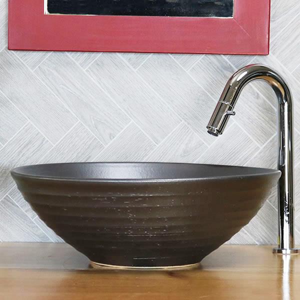 コゲ茶色手洗い鉢【中型サイズ】信楽焼き手洗器!陶器の手水鉢[tr-3192]