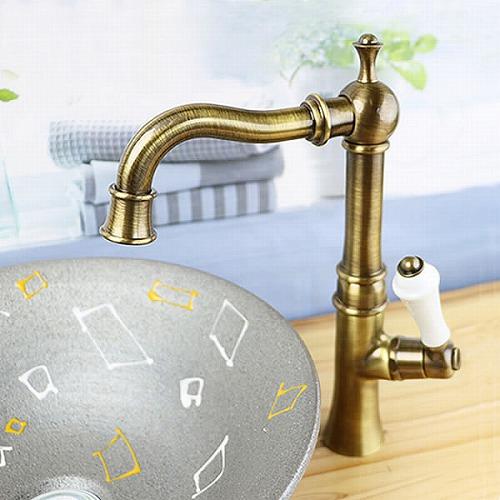 単水栓 立ち水栓 蛇口 立水栓 水栓金具 アンティークゴールドクラシック [se-0017]