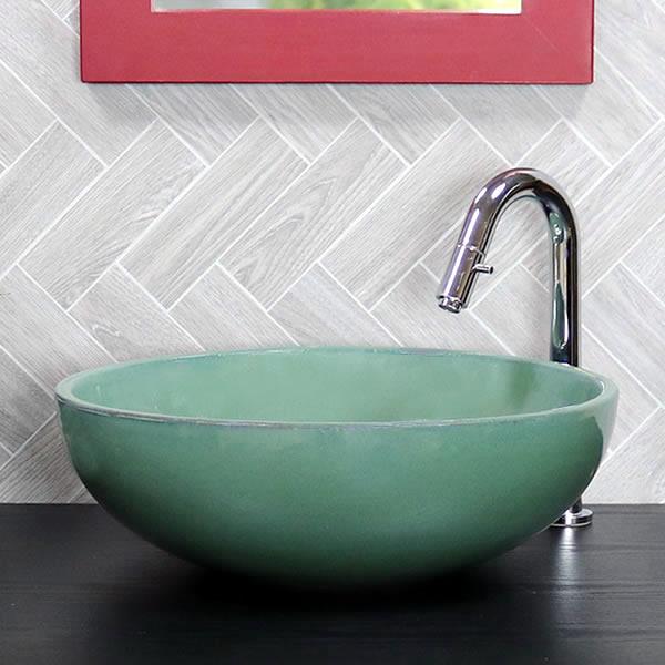 緑なまこ手洗い鉢【中型サイズ】 信楽焼き手洗器!陶器の手水鉢 洗面ボウル [tr-3081]