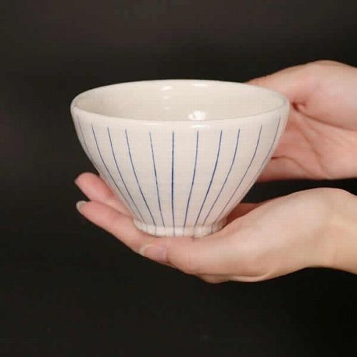 信楽焼 青ライン飯碗 w309-05