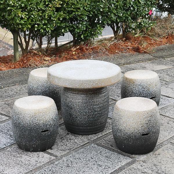 信楽焼 ガーデンテーブル 陶器テーブルセット 庭園テーブル イス 信楽焼きテーブル 陶器