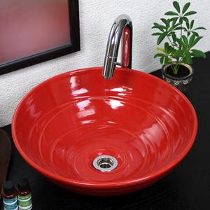 赤色手洗い鉢【中型サイズ】信楽焼き手洗器!陶器の手水鉢[tr-3190]