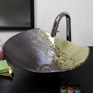古信楽長角ソリ型(大型)手洗い鉢【大型サイズ】信楽焼き手洗器!陶器の手水鉢[tr-4110]