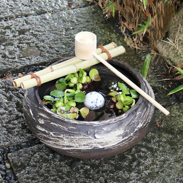 つくばい 蹲 ツクバイ 手水鉢 鉢 陶器 信楽焼 庭 金魚鉢 めだか鉢 メダカ鉢
