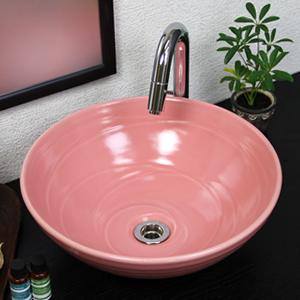 ピンク色手洗い鉢【中型サイズ】信楽焼き手洗器!陶器の手水鉢[tr-3194]