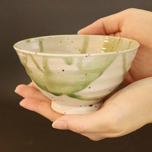 信楽焼 緑光飯碗(大) w310-01